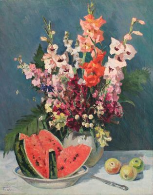 Nikolai Bazilev - Still Life, Melon and Flowers, 1958