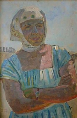Sold Works: Aleksei Borodin - Kazakh Woman in Blue