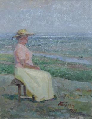 Aleksei Borodin - Sitting by the Sea, 1954