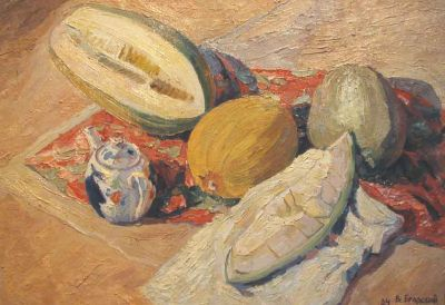 Sold Works: Vsevolod Brodsky - Still Life with Cantelope