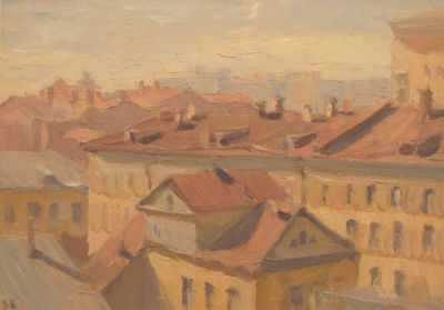Vsevolod Brodsky - Rooftops in Moscow, 1945