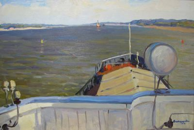 Valentin Sizikov - On the Volga River, 1966