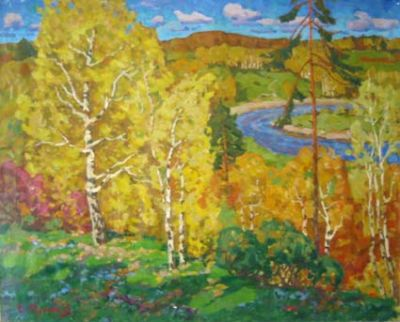 Sold Works: Evgeni Chuikov - Autumn on the River Soroca