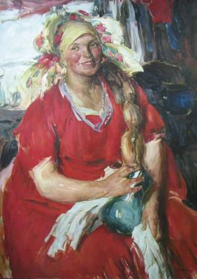 Nikolai Golushev - Woman in Red Dress (after Arkhipov)