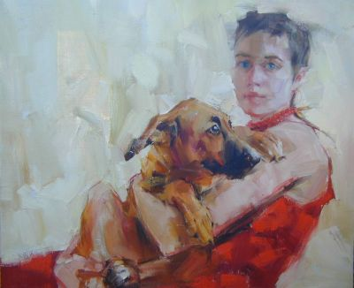 Yana Golubyatnikova - Self Portrait with Dog