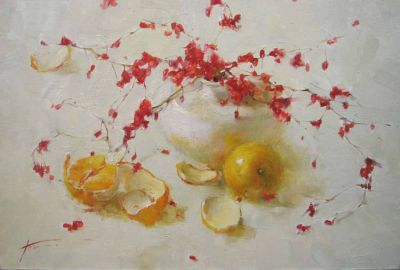 Yana Golubyatnikova - Red Berries on White Background