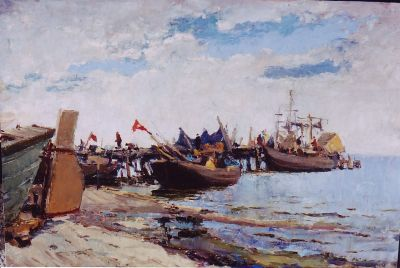 Sold Works: Vladimir Krantz - Latvian Fishing Boats