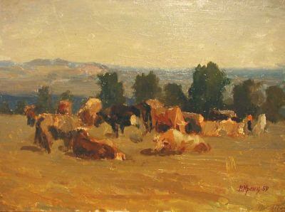 Sold Works: Vladimir Krantz - Grazing Cows