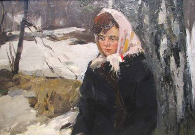 Oleg Lomakin - Girl in a Scarf, 1961