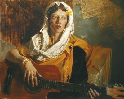 Select Sold Works: Ekaterina Morgun - Woman with Guitar