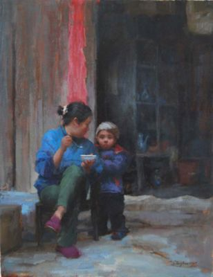 Select Sold Works: Marci Oleszkiewicz - Breakfast in the Village