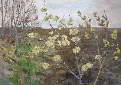 Sold Works: Erikh Rebane - Spring Time, Blooming Tree