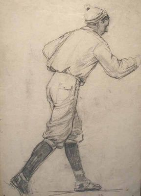 Mikhail Volodin - Cross Country Skier, Study, 1950s