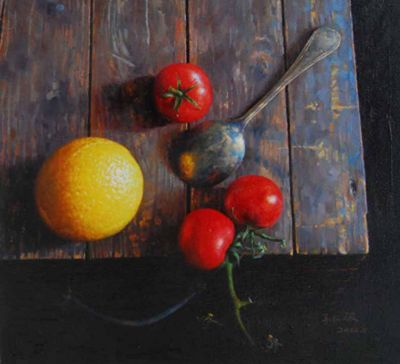 Sun Jun - Tomatoes on a Wooden Crate