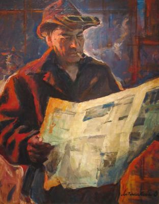Oleg Lomakin - Steel Worker Reading Pravda