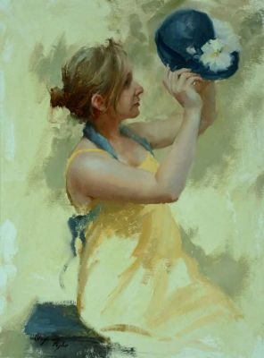 Select Sold Works: Marci Oleszkiewicz - Blue Hat