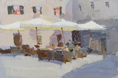 Select Sold Works: Daniil Volkov - Cafe Umbrellas