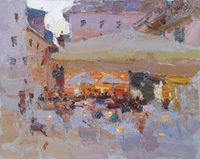 Select Sold Works: Daniil Volkov - Evening Cafe