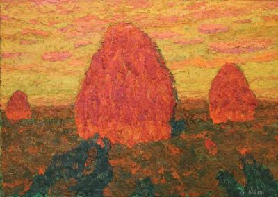 Vladimir Yukin - Haystacks at Dusk